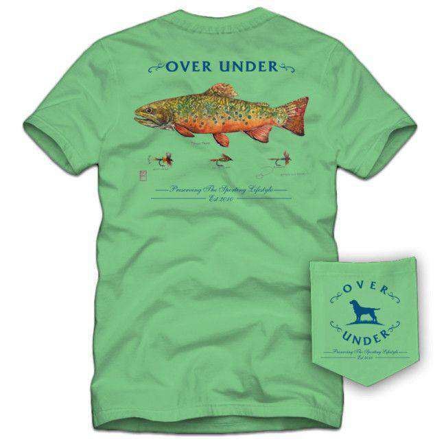 Men's Tee Shirts - Brook Trout Tee In Bermuda Green By Over Under Clothing