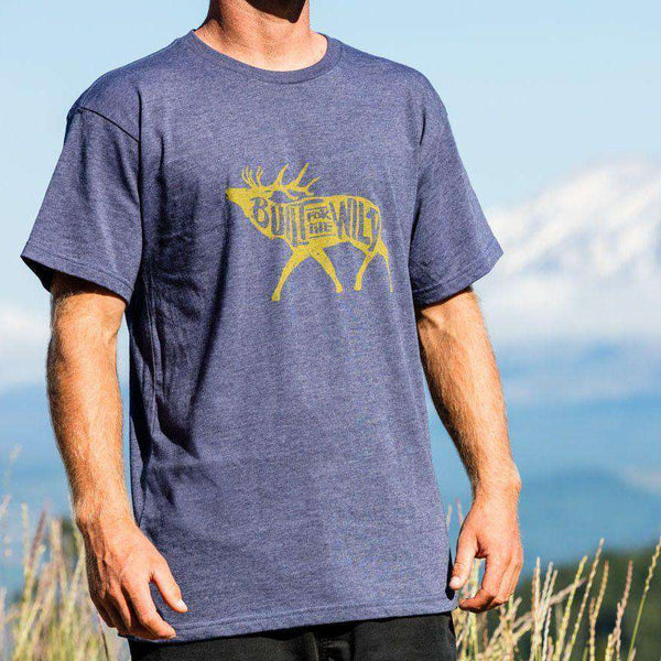 Men's Tee Shirts - Built For The Wild Bugling Elk Tee In Heather Navy By YETI
