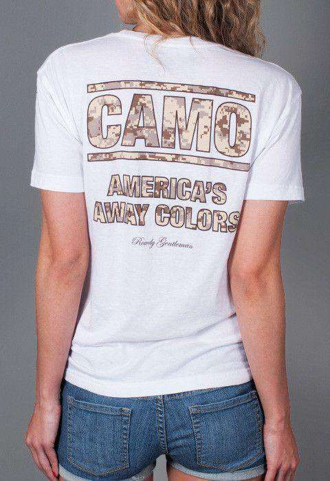 CAMO: America's Away Colors Short Sleeve Pocket Tee in White by Rowdy Gentleman - FINAL SALE