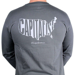 Men's Tee Shirts - Capitalist Long Sleeve Tee In Weathered Green By Rowdy Gentleman