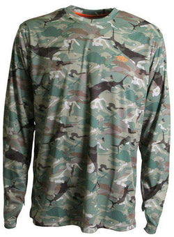 Men's Tee Shirts - Caster Long Sleeve Sun Shirt In Green Camo By AFTCO