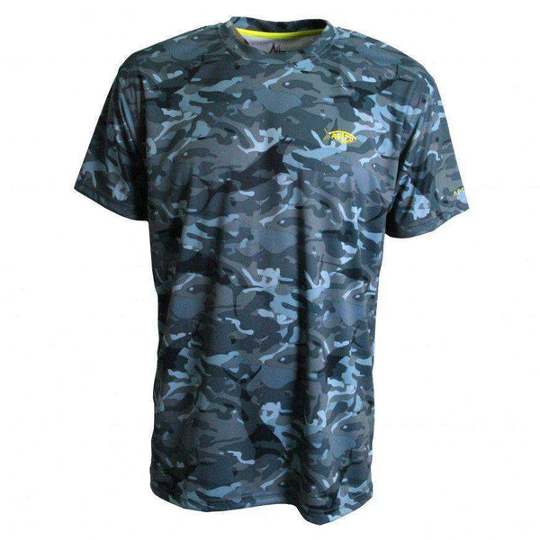 Men's Tee Shirts - Caster Tee Sun Shirt In Blue Camo By AFTCO