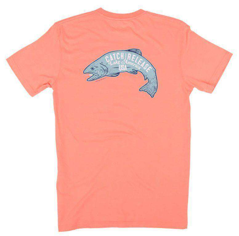 Men's Tee Shirts - Catch And Release Short Sleeve Pocket Tee In Papaya By Rowdy Gentleman - FINAL SALE