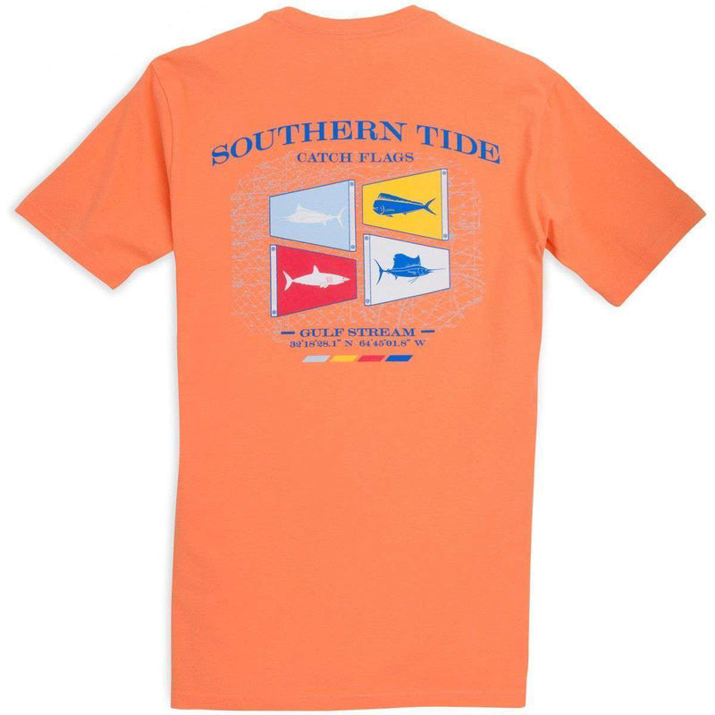 Men's Tee Shirts - Catch Flags II Tee-Shirt In Caribbean Estate Orange By Southern Tide