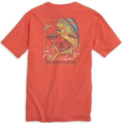 Men's Tee Shirts - Catch Of The Day (Mahi) Tee Shirt In Hot Coral By Southern Tide
