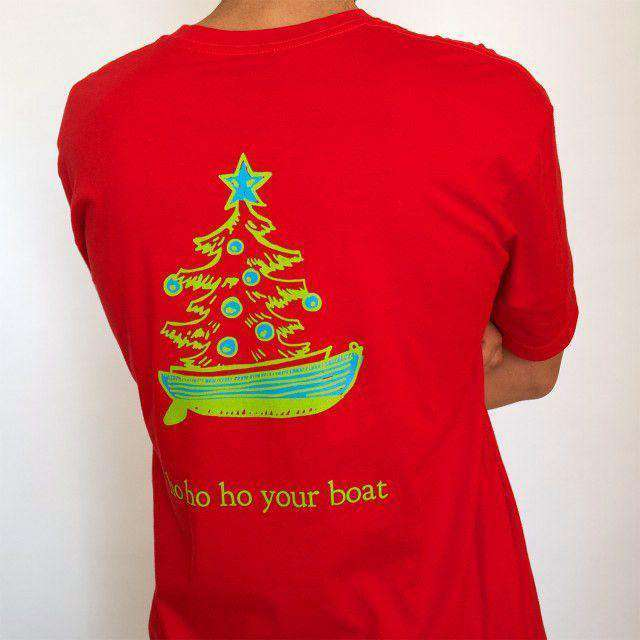 Men's Tee Shirts - Christmas Dingy T-Shirt In Red By Castaway Clothing