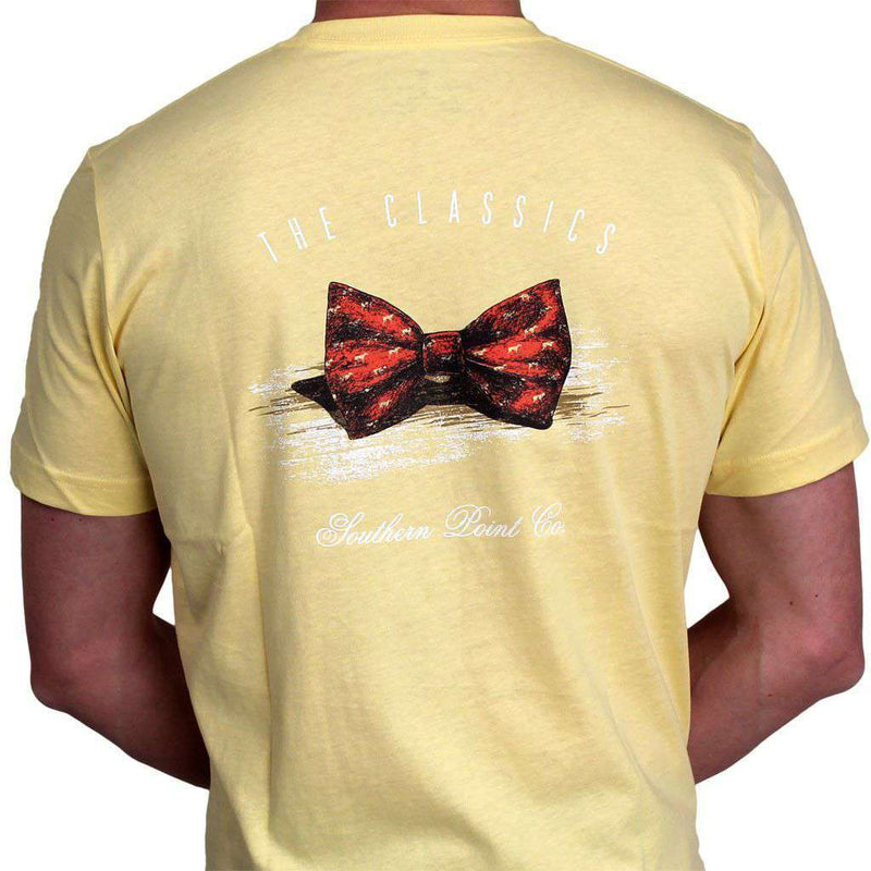 Men's Tee Shirts - Classic Bow Tie Tee In Pale Yellow By Southern Point Co.