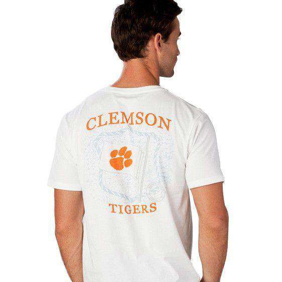 Men's Tee Shirts - Clemson University Flag Tee Shirt In White By Southern Tide
