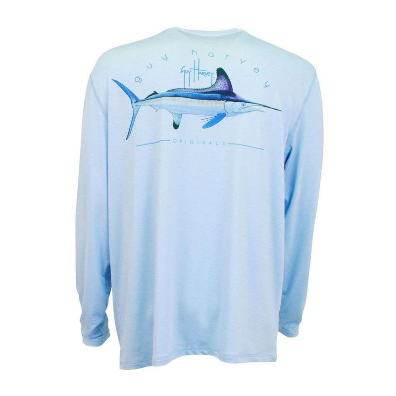 Men's Tee Shirts - Clipper Long Sleeve Pro UVX Performance Shirt In Light Blue By Guy Harvey