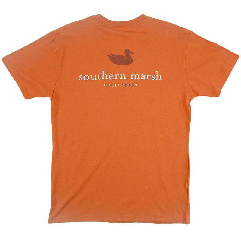 Men's Tee Shirts - Collegiate Authentic Tee In Burnt Orange With Brown Duck And White Text By Southern Marsh