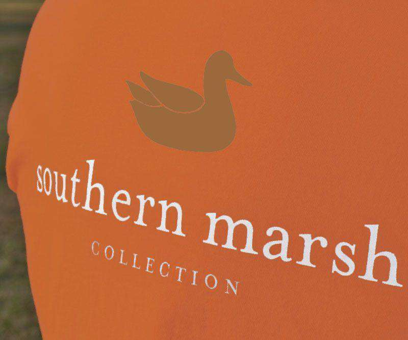 Collegiate Authentic Tee in Burnt Orange with Brown Duck and White Text by Southern Marsh