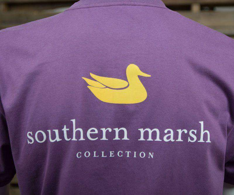 Men's Tee Shirts - Collegiate Authentic Tee In Iris With Yellow Duck And White Text By Southern Marsh