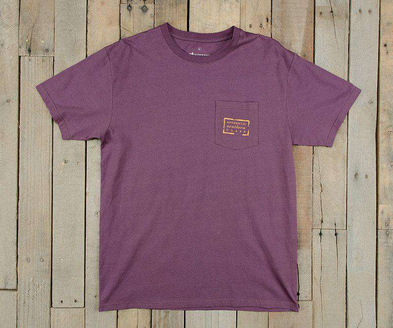 Collegiate Authentic Tee in Iris with Yellow Duck and White Text by Southern Marsh