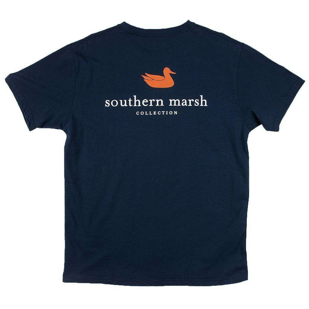 Men's Tee Shirts - Collegiate Authentic Tee In Navy With Orange Duck By Southern Marsh