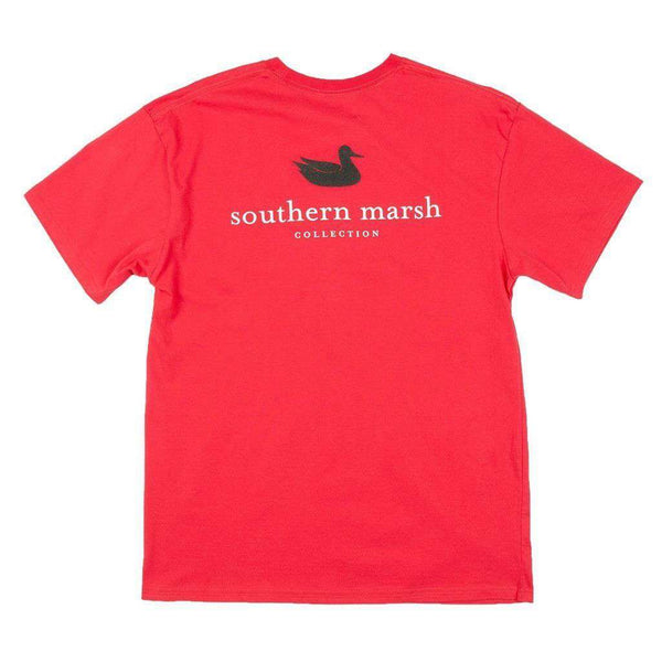 Collegiate Authentic Tee in Red with Black Duck by Southern Marsh