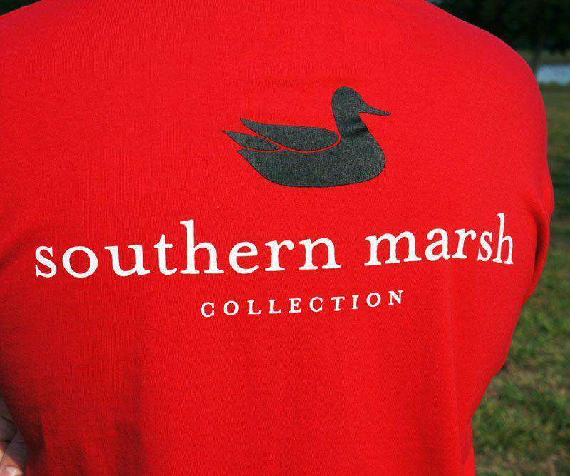 Men's Tee Shirts - Collegiate Authentic Tee In Red With Black Duck By Southern Marsh