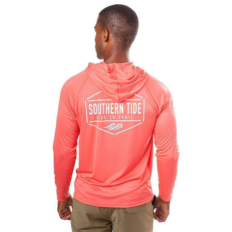 Men's Tee Shirts - Crest To Cap Performance Hoodie Tee Shirt In Sunset By Southern Tide