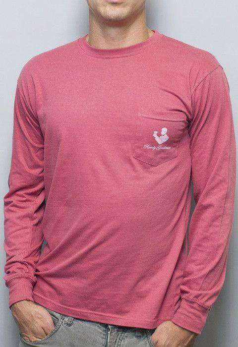 Men's Tee Shirts - Danger Zone Long Sleeve Tee In Weathered Red By Rowdy Gentleman