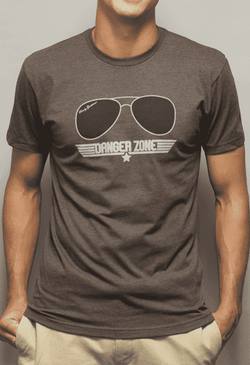Men's Tee Shirts - Danger Zone Vintage Tee In Espresso By Rowdy Gentleman - FINAL SALE