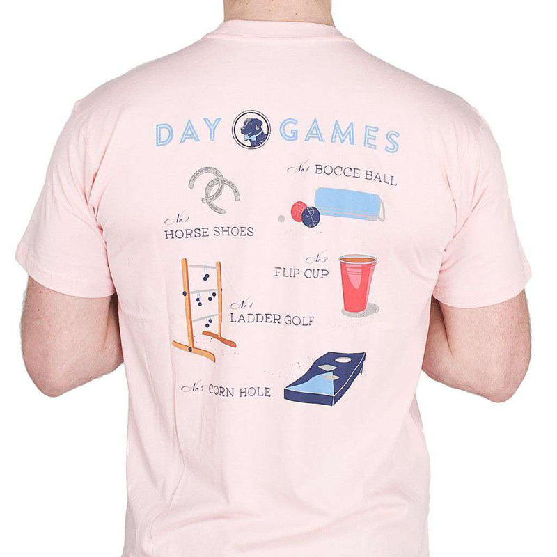 Men's Tee Shirts - Day Games Tee In Spike The Punch Pink By Southern Proper