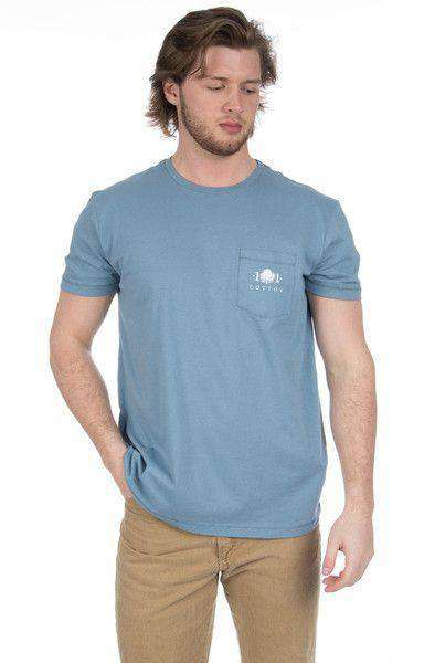 Men's Tee Shirts - Decoy Pocket Tee In Silver Blue By Cotton 101 - FINAL SALE
