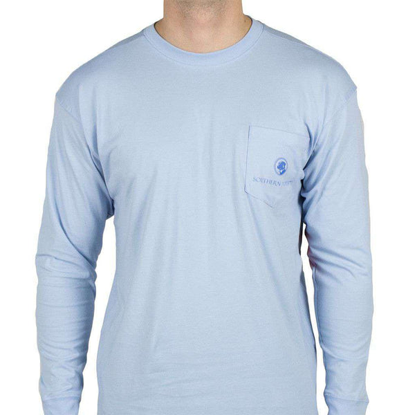 a7699239d4dc Southern Proper Defender of the South Long Sleeve Tee in Hydrangea Blue –  Country Club Prep