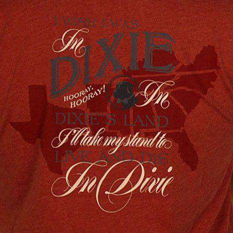 Men's Tee Shirts - Dixie Land Long Sleeve Tee In Heathered Rust Red By Southern Proper