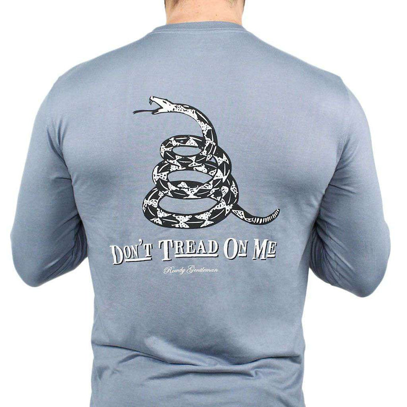 Men's Tee Shirts - Don't Tread On Me Long Sleeve Pocket Tee In Citadel Blue By Rowdy Gentleman