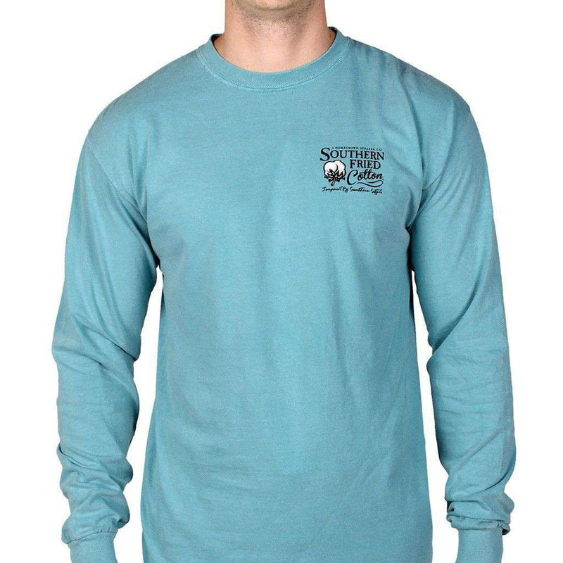 Men's Tee Shirts - Don't Tread On Me Long Sleeve Tee Shirt In Seafoam By Southern Fried Cotton