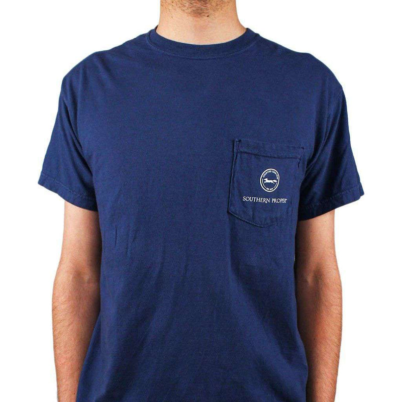 Men's Tee Shirts - Down To Derby Tee In Navy By Southern Proper - FINAL SALE