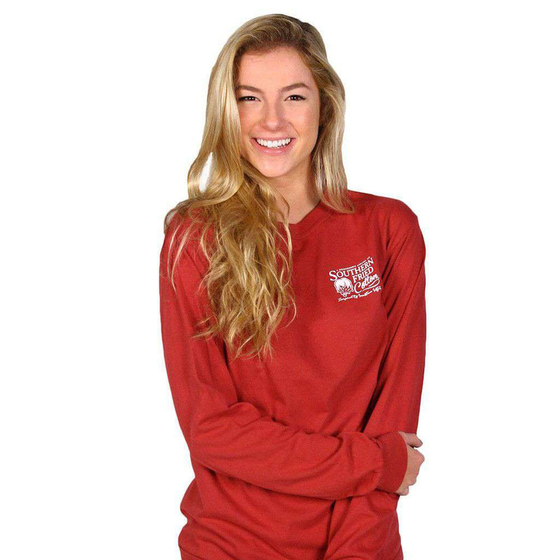 Duck Necessities Long Sleeve Tee Shirt in Chili Red by Southern Fried Cotton