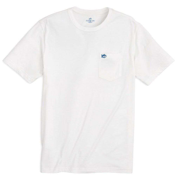 Men's Tee Shirts - Embroidered Outline Skipjack Pocket Tee Shirt In Classic White By Southern Tide