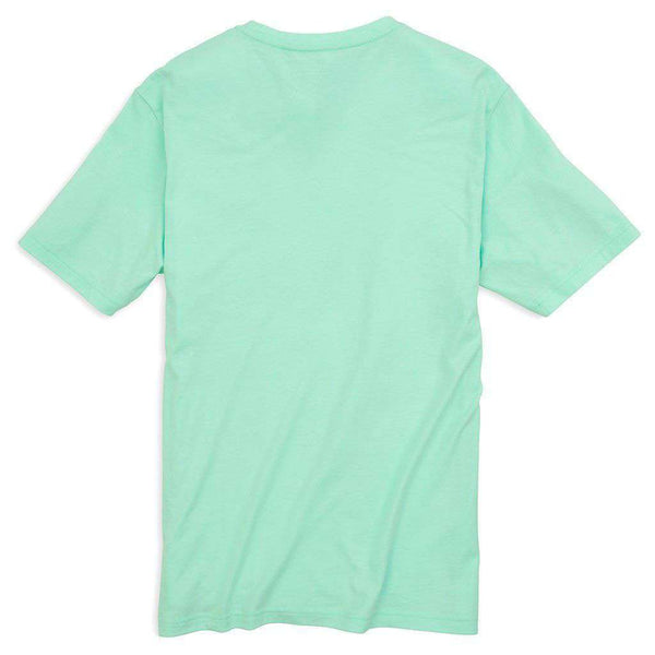Men's Tee Shirts - Embroidered Outline Skipjack Pocket Tee Shirt In Offshore Green By Southern Tide