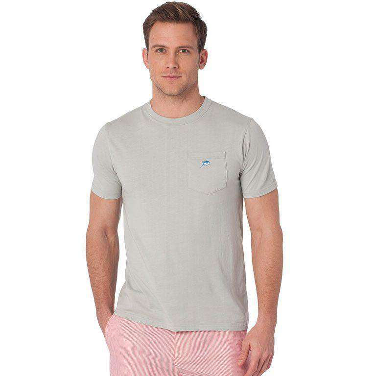 Men's Tee Shirts - Embroidered Pocket Tee In Harpoon Grey By Southern Tide