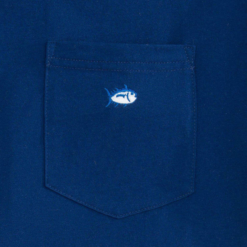 Men's Tee Shirts - Embroidered Pocket Tee Shirt In Blue Depths By Southern Tide