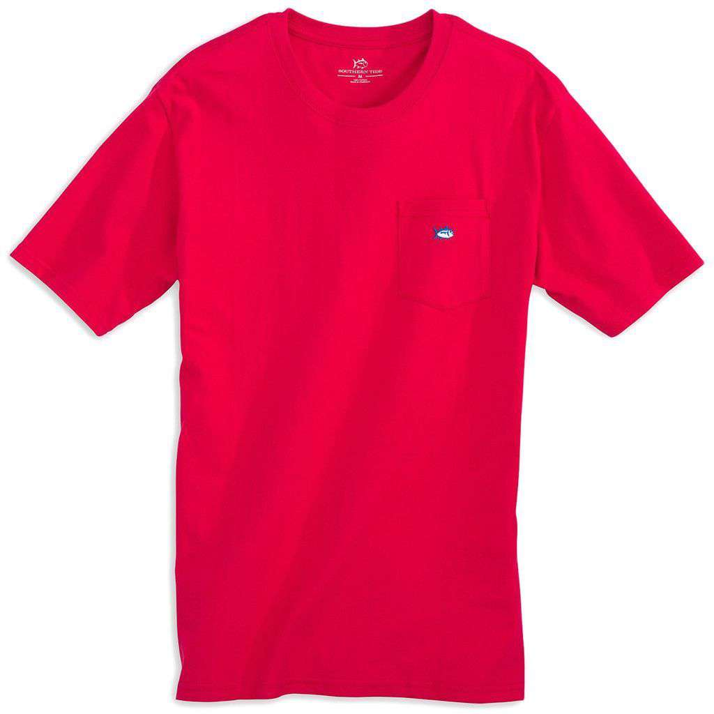 Men's Tee Shirts - Embroidered Pocket Tee Shirt In Channel Marker Red By Southern Tide