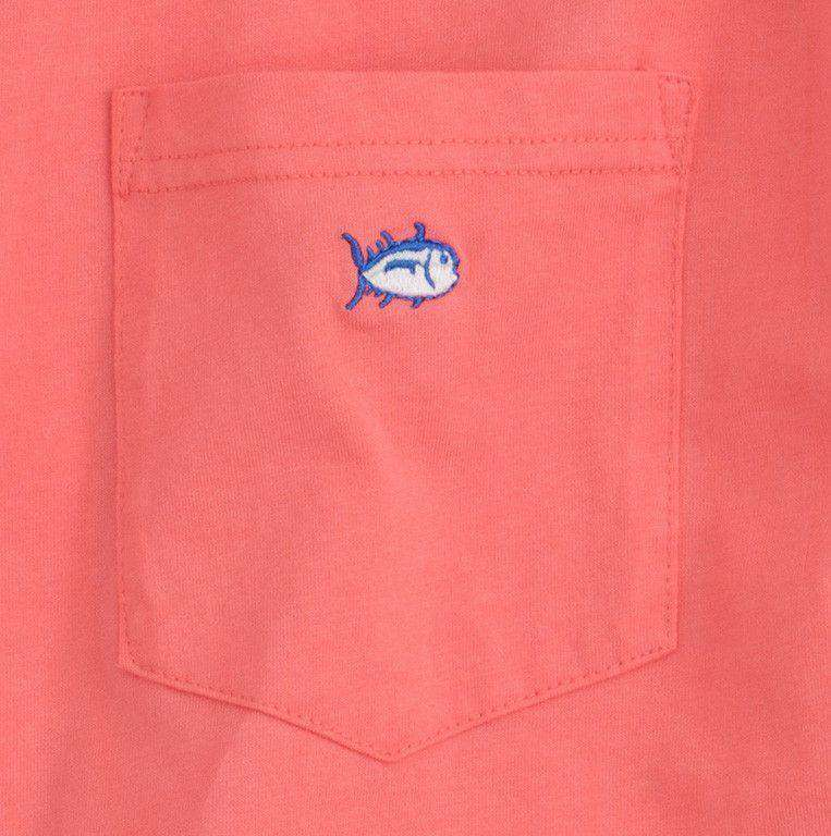 Embroidered Pocket Tee Shirt in Coral Beach by Southern Tide