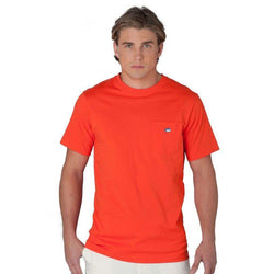 Men's Tee Shirts - Embroidered Pocket Tee Shirt In Endzone Orange By Southern Tide