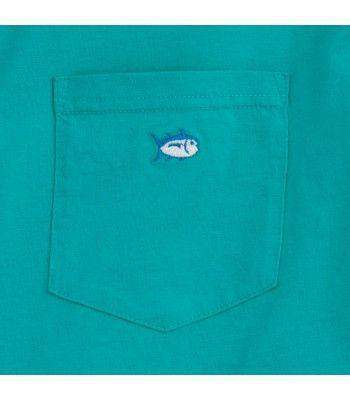 Embroidered Pocket Tee Shirt in Gulfstream Green by Southern Tide