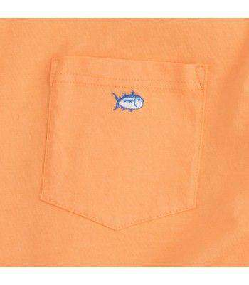 Men's Tee Shirts - Embroidered Pocket Tee Shirt In Horizon By Southern Tide