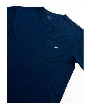 Men's Tee Shirts - Embroidered Pocket Tee Shirt In Navy By Southern Tide