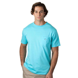 Men's Tee Shirts - Embroidered Pocket Tee Shirt In Ocean Blue By Southern Tide