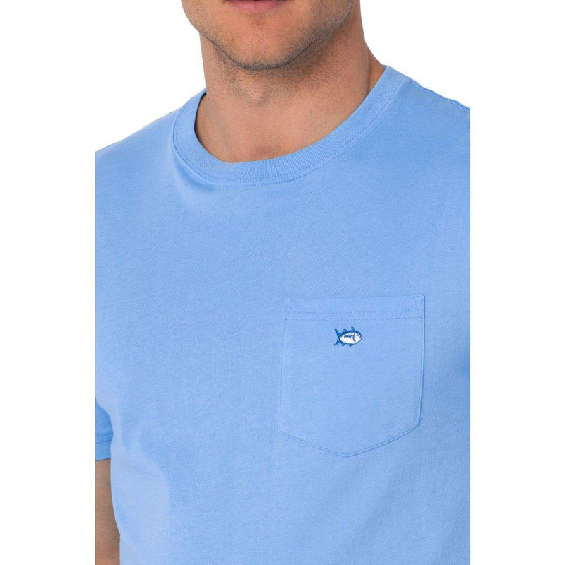 Men's Tee Shirts - Embroidered Pocket Tee Shirt In Ocean Channel By Southern Tide