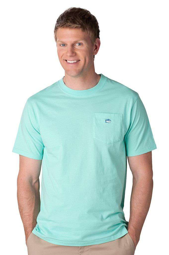 Men's Tee Shirts - Embroidered Pocket Tee Shirt In Offshore Green By Southern Tide