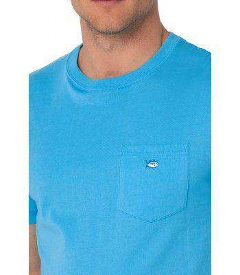 Men's Tee Shirts - Embroidered Pocket Tee Shirt In Waterfall By Southern Tide