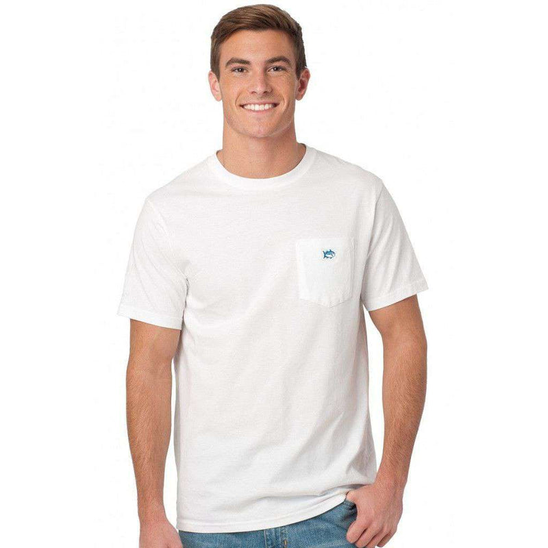 Men's Tee Shirts - Embroidered Pocket Tee Shirt In White By Southern Tide