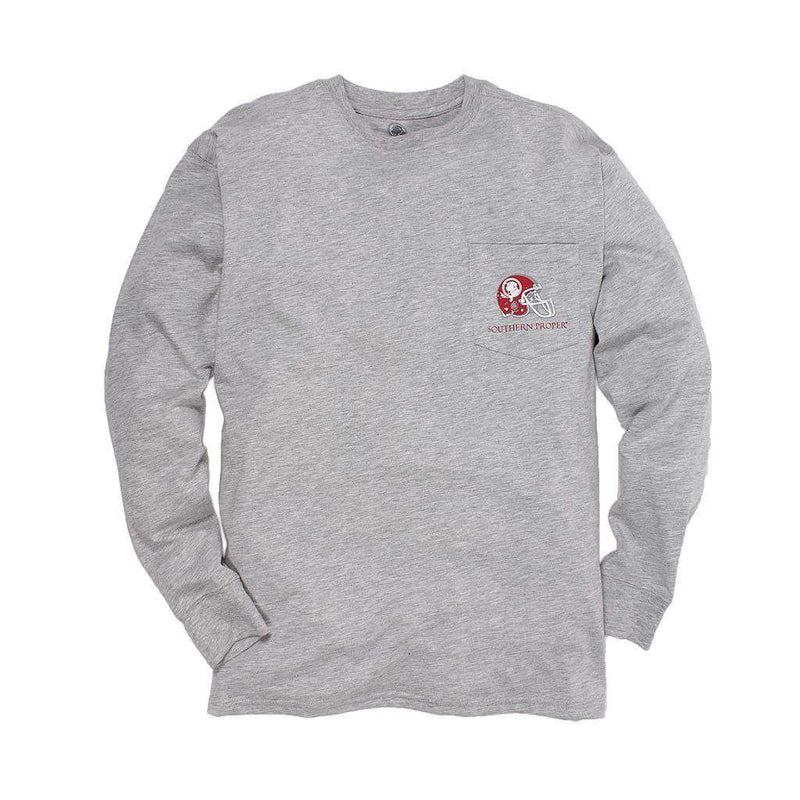 Exclusive Preppy and Football Long Sleeve Tee in Heather Grey by Southern Proper - FINAL SALE