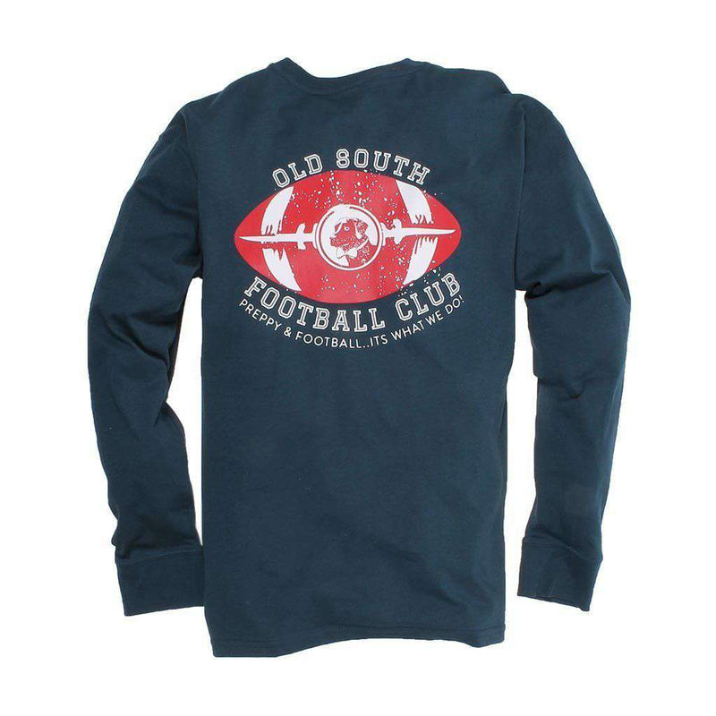 Men's Tee Shirts - Exclusive Preppy And Football Long Sleeve Tee In Reflecting Pond Navy By Southern Proper