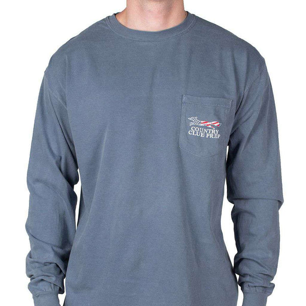 Faded Flag Longshanks Long Sleeve Tee Shirt in Blue Jean by Country Club Prep