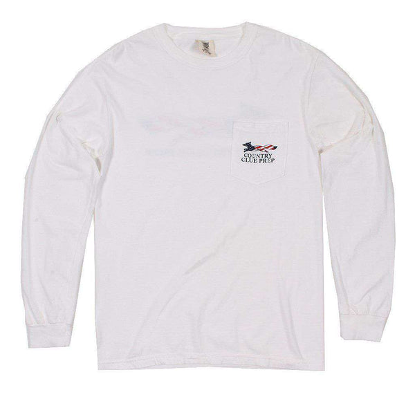 Faded Flag Longshanks Long Sleeve Tee Shirt in White by Country Club Prep
